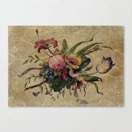 Vintage Floral Bouquet Collage - French Ephemera Botanical Print - French Script and Flowers Canvas Print