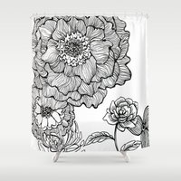 alisa burke Shower Curtains featuring flower line drawing by Alisa Burke