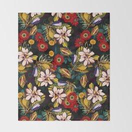 Japanese Floral Pattern Throw Blanket
