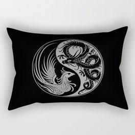 Gray and Black Dragon Phoenix Yin Yang Rectangular Pillow
