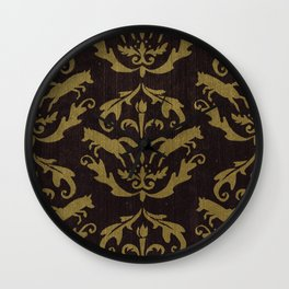 Fox Damask Wall Clock