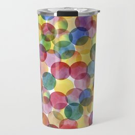 Multi-Color Watercolor Paint Dabs Pattern Travel Mug