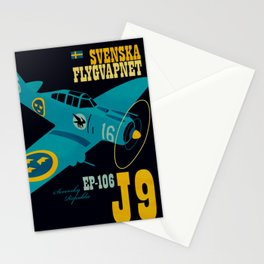 Swedish EP-106 airplane poster ShreddyStudio Dennis Weber Stationery Cards