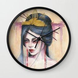 Amaya - Japanese inspired portrait painting Wall Clock