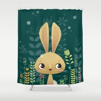 bunny Shower Curtains featuring Bunny! by Irene Gough Prints
