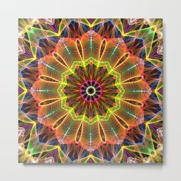 Mandala - Orange StarFlower Metal Print