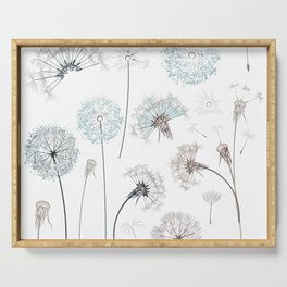 Hand drawn vector dandelions in rustic style Serving Tray