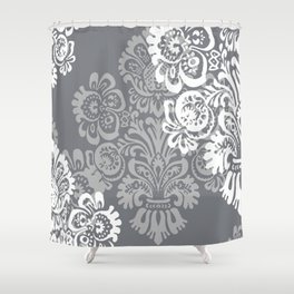 Gray + Silver Damask Shower Curtain