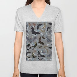 Halloween Bat Colony (on contemporary blue-black-silver background) Unisex V-Neck