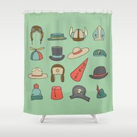 hats Shower Curtains featuring Various Hats by Nicole Rheingans