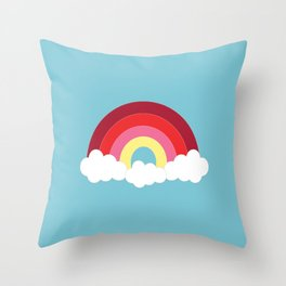 Rainbow in the Spring Blue Sky Throw Pillow