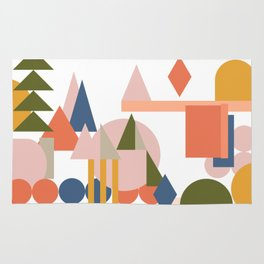 Folksy Geometric Abstract Landscape Rug