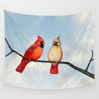 cardinal Wall Tapestries featuring cardinal couple by Sarah Knight