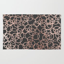 Modern Rose Gold Circles on Charcoal Black Rug