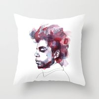 prince Throw Pillows featuring Prince by Allison Kunath