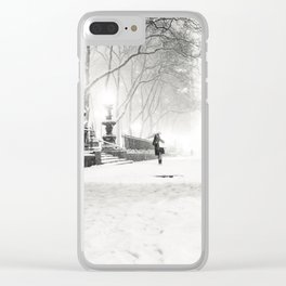 Snow - New York City - Bryant Park Clear iPhone Case