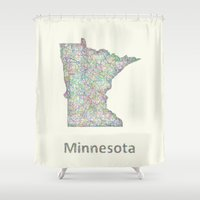 minnesota Shower Curtains featuring Minnesota map by David Zydd