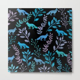 Watercolor Floral & Fox IV Metal Print