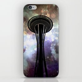 Space Needle - Seattle Stars and Clouds at Night iPhone Skin