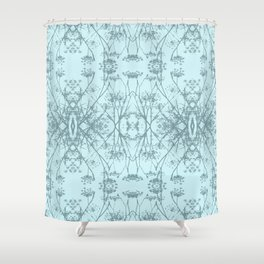 Fennel Seed in Blue Repeat Pattern Shower Curtain