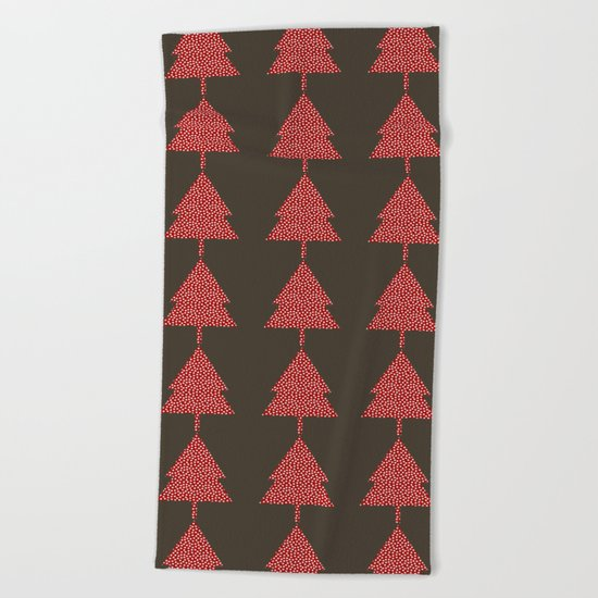 Christmas Tree brown Beach Towel