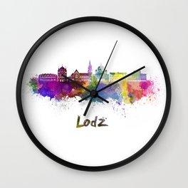 Lodz skyline in watercolor Wall Clock