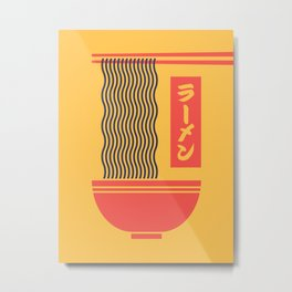 Ramen Japanese Food Noodle Bowl Chopsticks - Yellow Metal Print