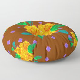 Chocolate Brown Golden Rose Violet Accents Floor Pillow