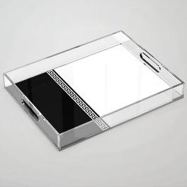 Greek Key 2 - White and Black Acrylic Tray