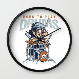 Drummers Drumming Musician Gift Born To Play Drums Music Lovers Rock Bands Wall Clock