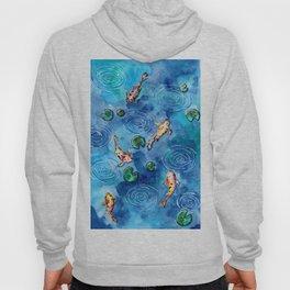 Koi Fish Pond in the Rain Hoody