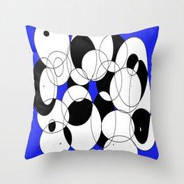 Circles against Blue Throw Pillow