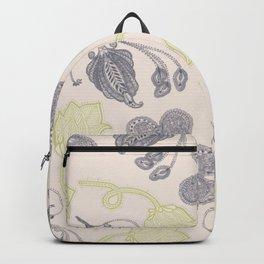Modern vintage mint green ivory gray floral Backpack