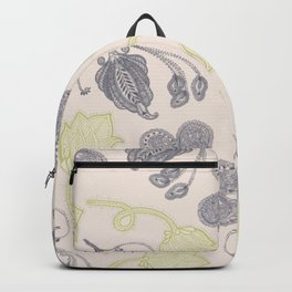 Modern vintage mint green ivory gray floral Backpack