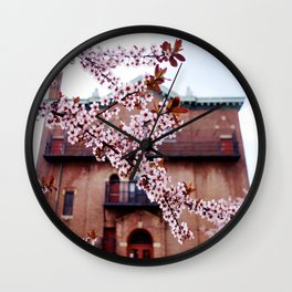 Cherry Blossoms and Chapels Wall Clock