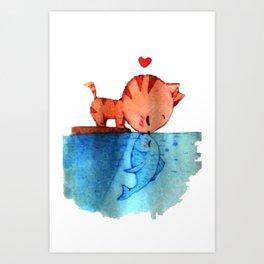 Cat Kiss Art Print