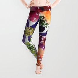 clematis/rose/peony in watercolor Leggings