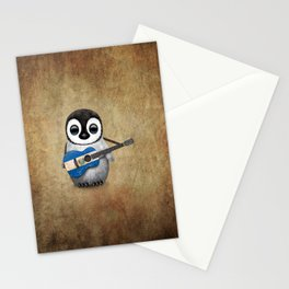 Baby Penguin Playing Salvadorian Flag Acoustic Guitar Stationery Cards