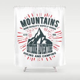 Mountains stamp print design Shower Curtain