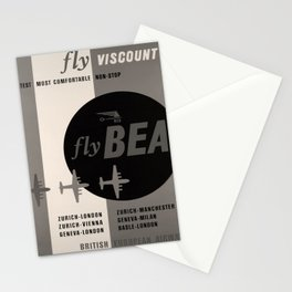 Vintage Placard Fly Viscount voyage poster Stationery Cards