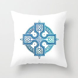 St. Patrick's Day Celtic Blue Cross Throw Pillow