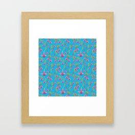 Watercolour Fuchsia Flower Pattern - Sky Blue Framed Art Print