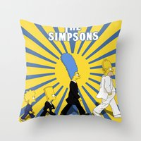 simpson Throw Pillows featuring Simpson Sun by sgrunfo