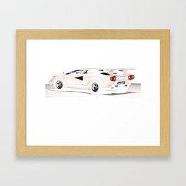 White Lamborghini Countach 1985 Framed Art Print