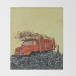 sugar cane and truck on fire Throw Blanket