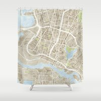 oakland Shower Curtains featuring Oakland California Watercolor Map by Anne E. McGraw