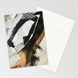 Stay | Collage Series 2 | mixed-media piece in gold, black and white + book pages Stationery Cards