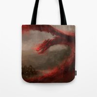 smaug Tote Bags featuring Smaug 2 by nlmda