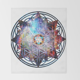 Flower of life Galactic Merkaba ;] Throw Blanket