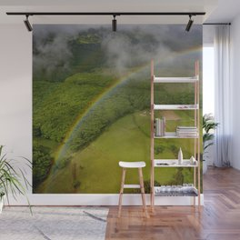Hawaiian Rainbow Over Valley in Kauai: Aerial View Wall Mural
